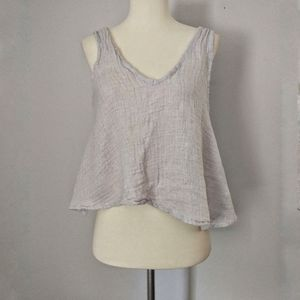 Anthropologie LACAUSA Glory Tank Top Cropped Linen
